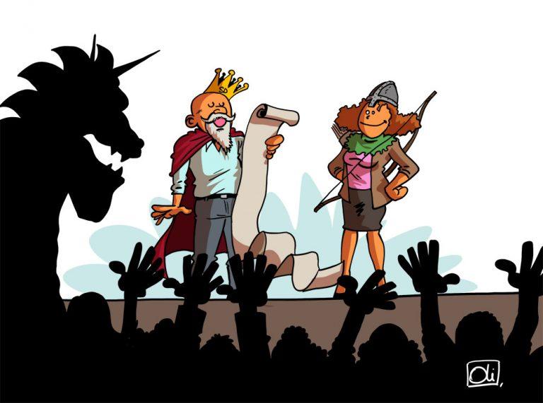Sire Daniel et la Chevaleresse Cunegonde contre les têtes Ego et BoîteABobo